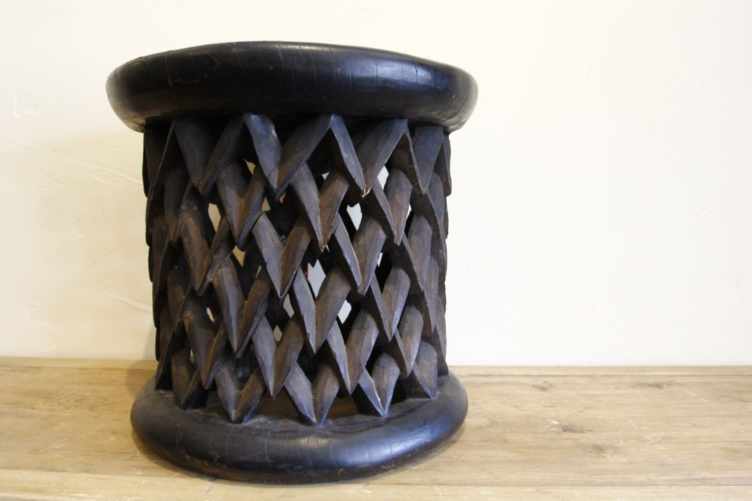 Antique round hand carved kuba table vintage african table