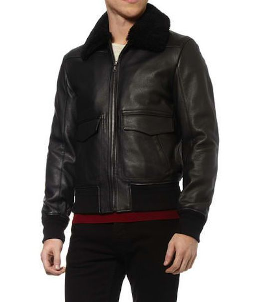 7ec7c9a0 Yves Saint Laurent Shearling Collar Leather Bomber Jacket | W&H ...