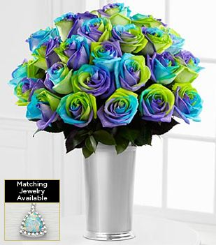 Fl Gemstone Alluring Hues Opal Rose Bouquet 24 Stems Vase Included Ftd