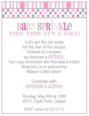 baby sprinkle shower invitation for a girl in pink and gray with