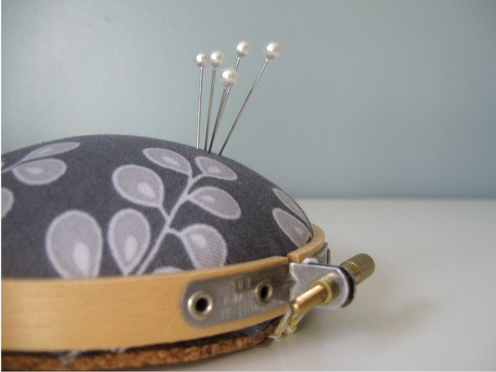Embroidery Hoop Pincushion in Gray Floral $6.00, via Etsy by Milo and Molly.