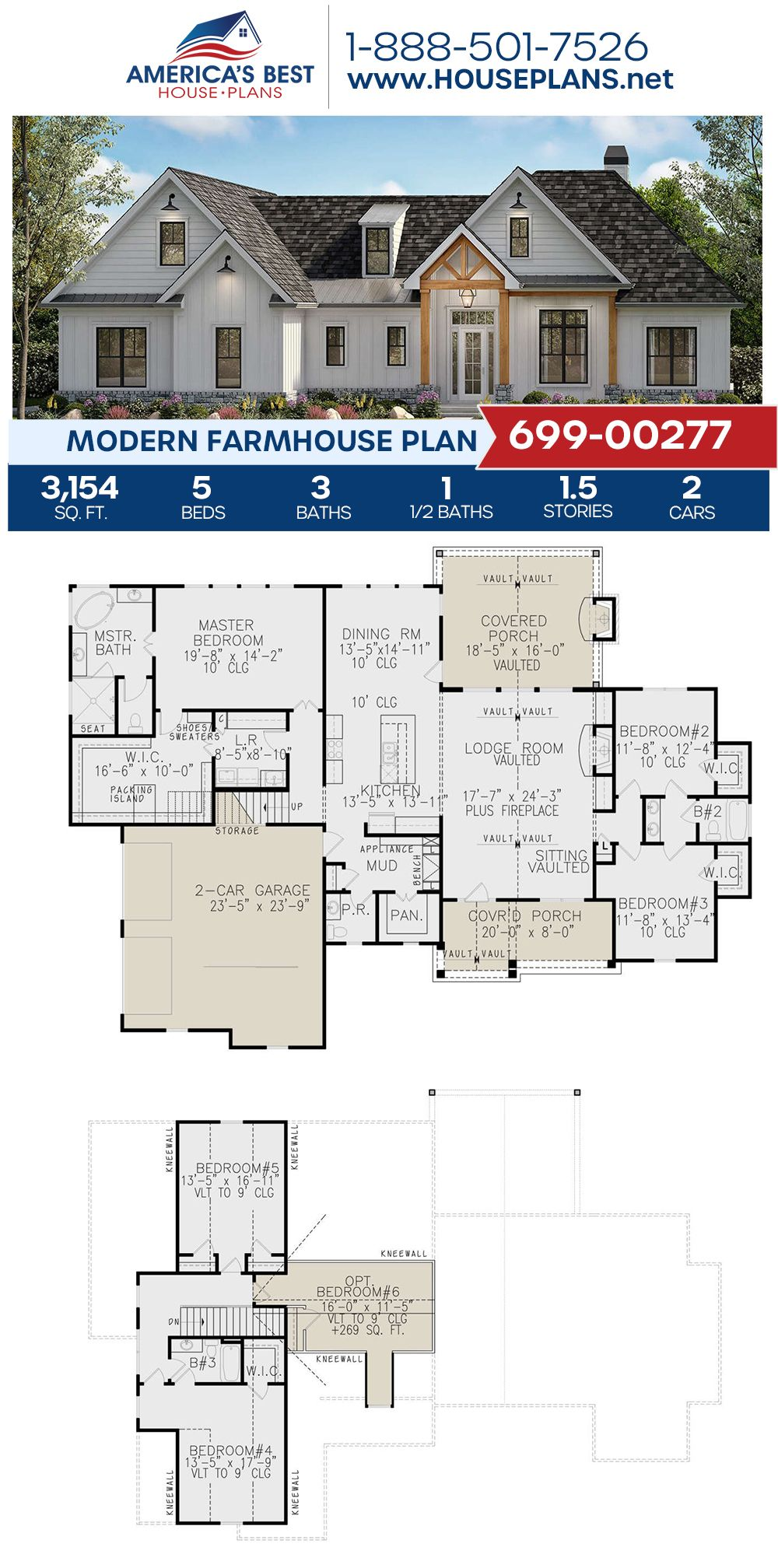 House Plan 699 00277 Modern Farmhouse Plan 3 154 Square Feet 5 Bedrooms 3 5 Bathrooms In 2020 Modern Farmhouse Plans Modern Farmhouse Floors Farmhouse Plans