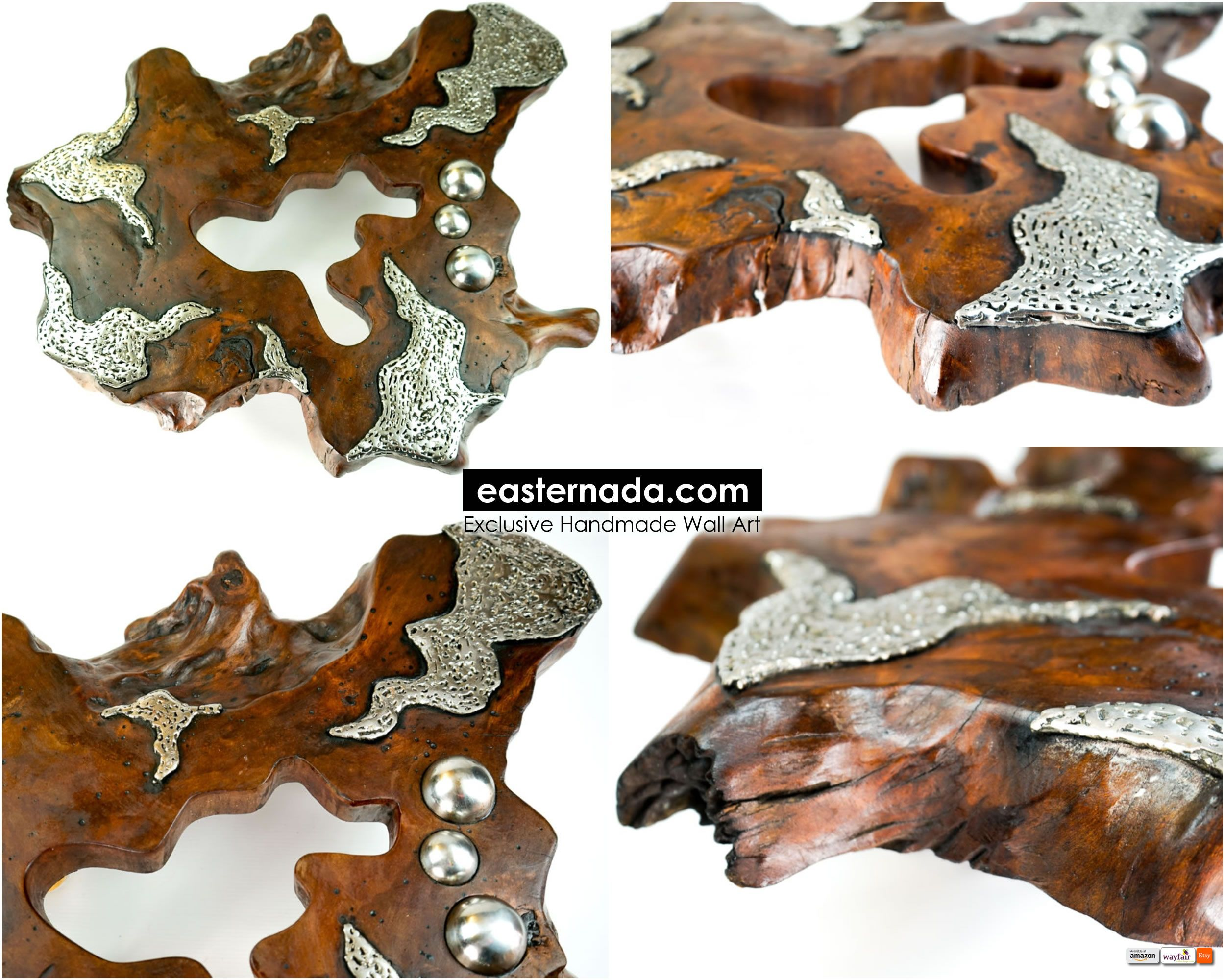 A fusion of traditional and modern art combining natural wood with