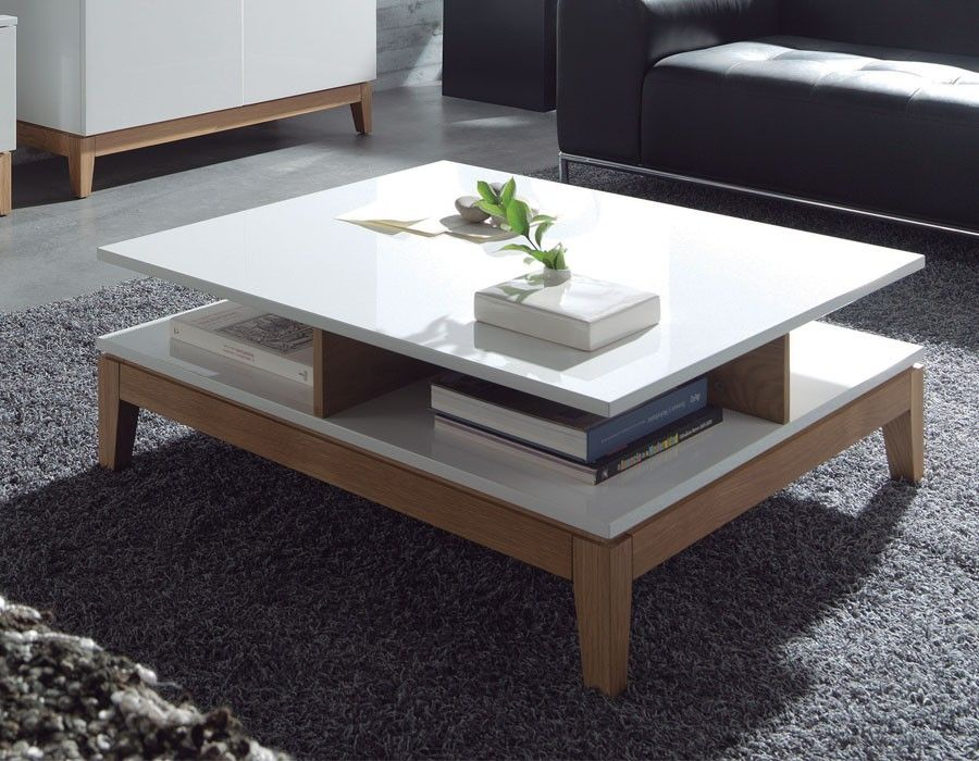 Table Basse Scandinave Laque Blanc Et Chene Olga Table Basse Table Basse Design Decoration Meuble