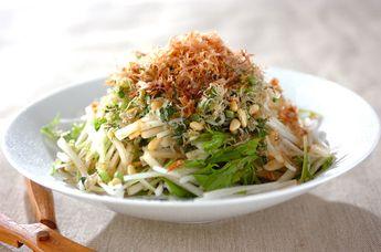 大根と水菜のパリパリジャコサラダ 【大根上部+大根葉】  上部は生で食べるにはもってこい!大根のシャキッと食感、みずみずしさをぜひ味わって!