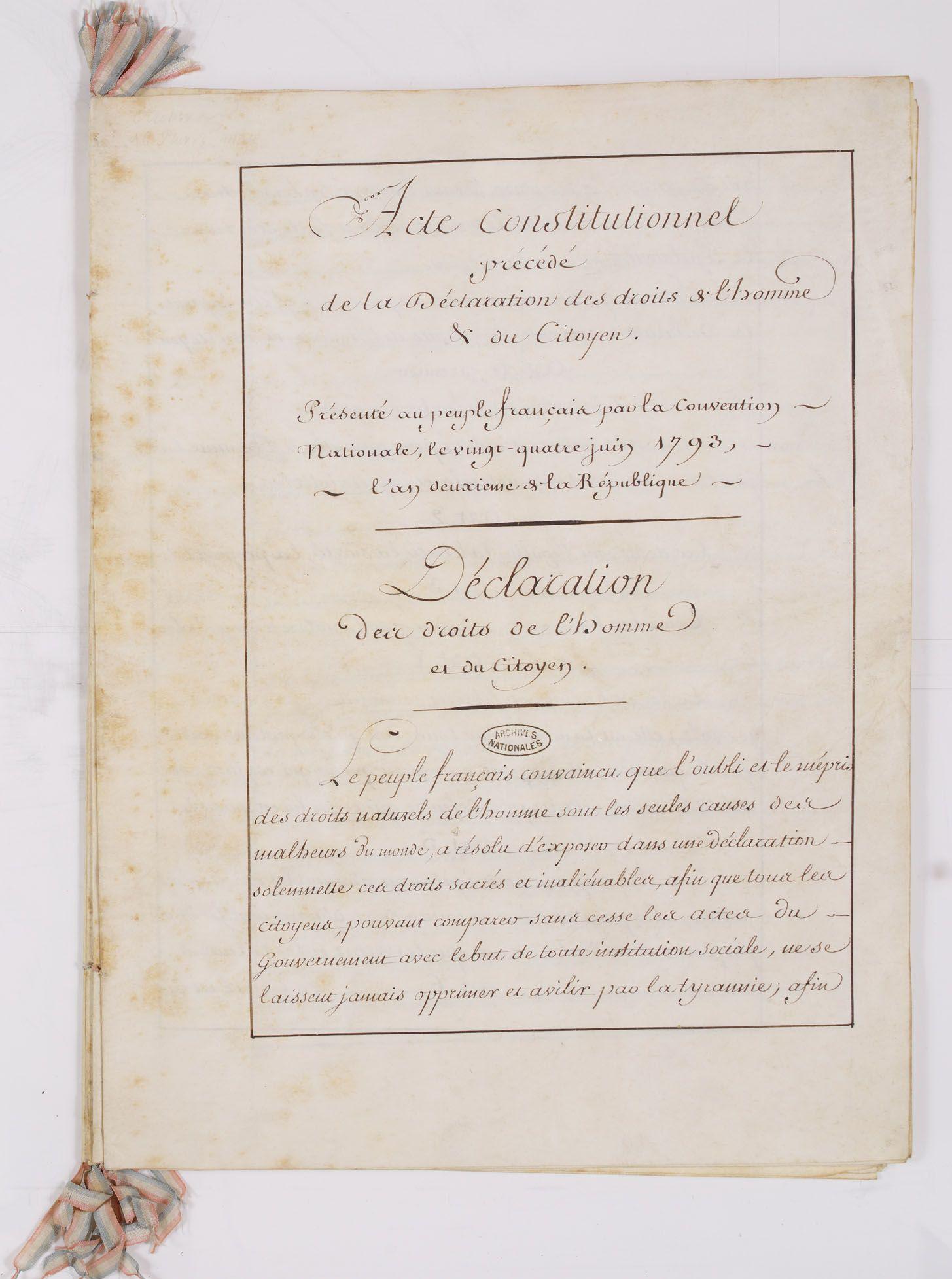 Constitution De 1793 Acte Constitutionnel Du Peuple Francais Precede Du Rapport De La Convention Et De La Declaration Des Droits De L Homme E Storia Storie