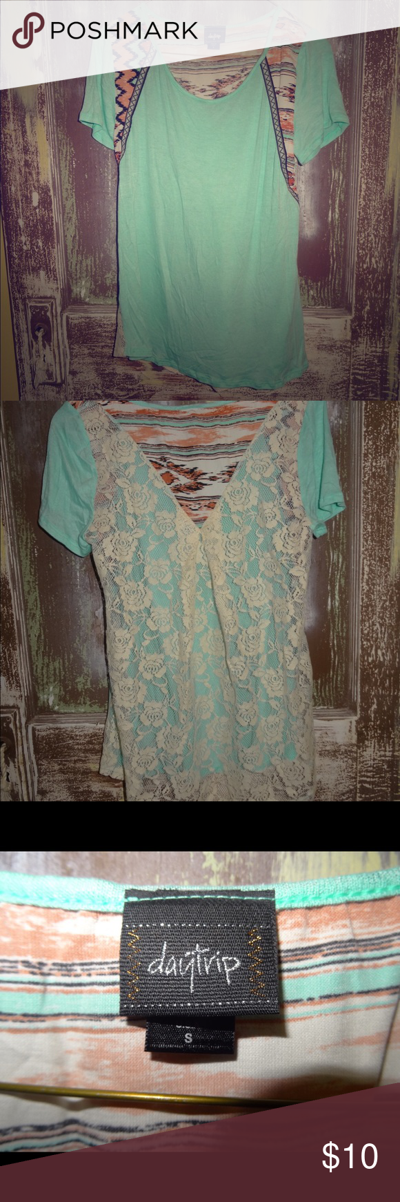 NWOT Daytrip Mint Green Turquoise Aztec Print Lace NWOT Daytrip Mint Green Turquoise Aztec Print Lace Back Boho Blouse Top Small Daytrip Tops Blouses