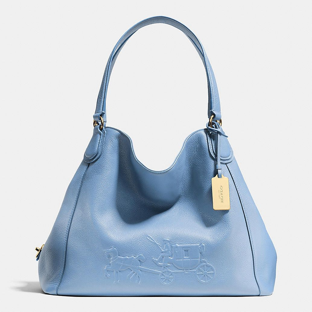67d2eb10f1 EMBOSSED HORSE AND CARRIAGE EDIE SHOULDER BAG IN PEBBLED LEATHER ...