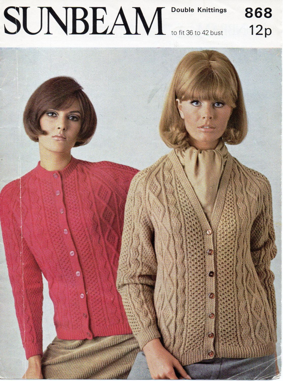 42bcf8770 womens aran cardigans knitting pattern cable jackets 1970s v neck crew neck  36-42 inch DK womens knitting pattern pdf instant download by Hobohooks on  Etsy