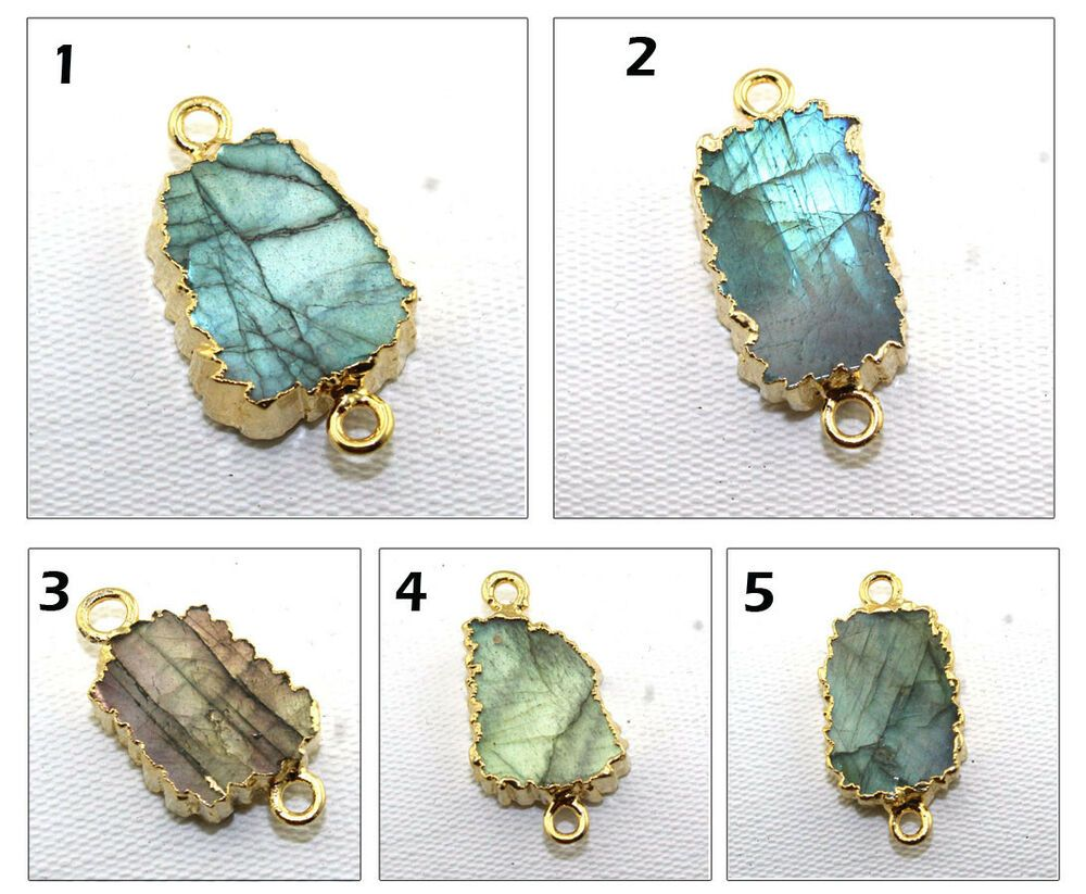 Natural Fire Labradorite 24k Gold Electroplated Connector Charm Making Jewelry