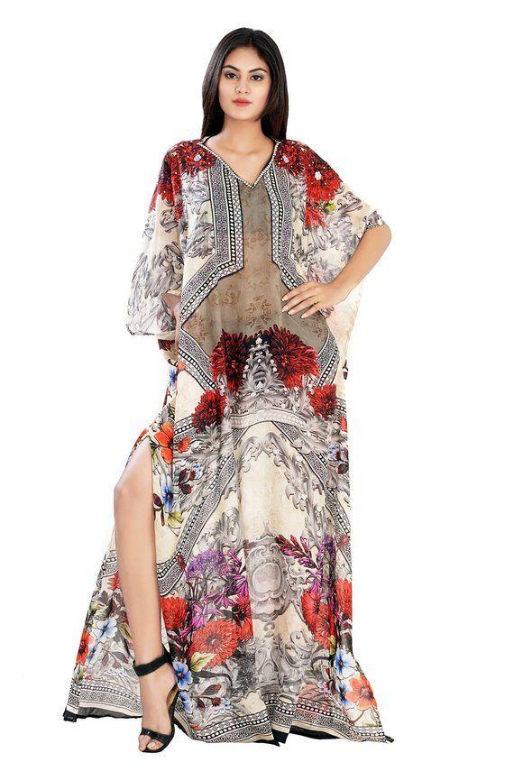 53f30e638f Beach kaftan dress for woman beaded beach wear one piece jeweled ...