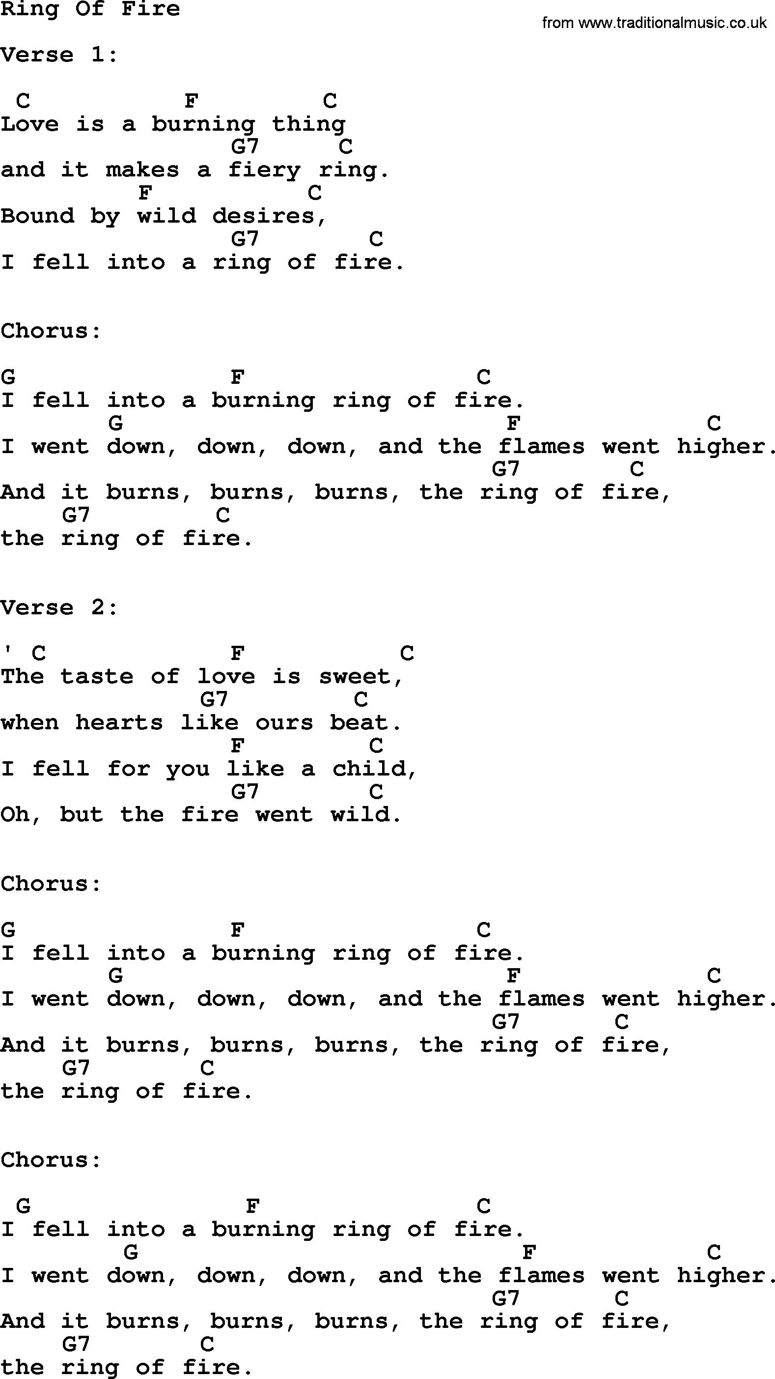 Johnny Cash Song Ring Of Fire Lyrics And Chords Guitar