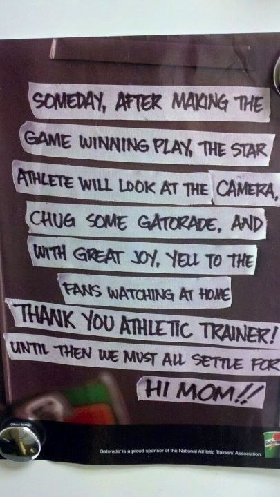 Thank you Athletic Trainer  love this gatorade ad - high school athletic trainer sample resume