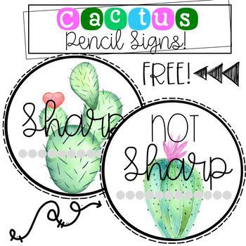 Cactus Pencil Sign Freebie
