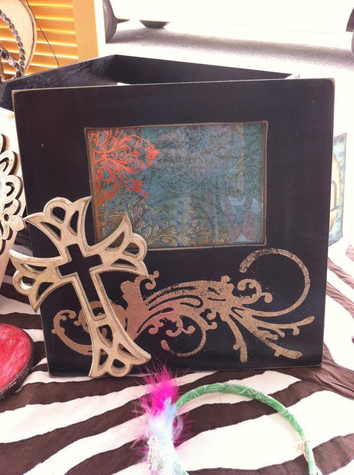 embossed cross frame