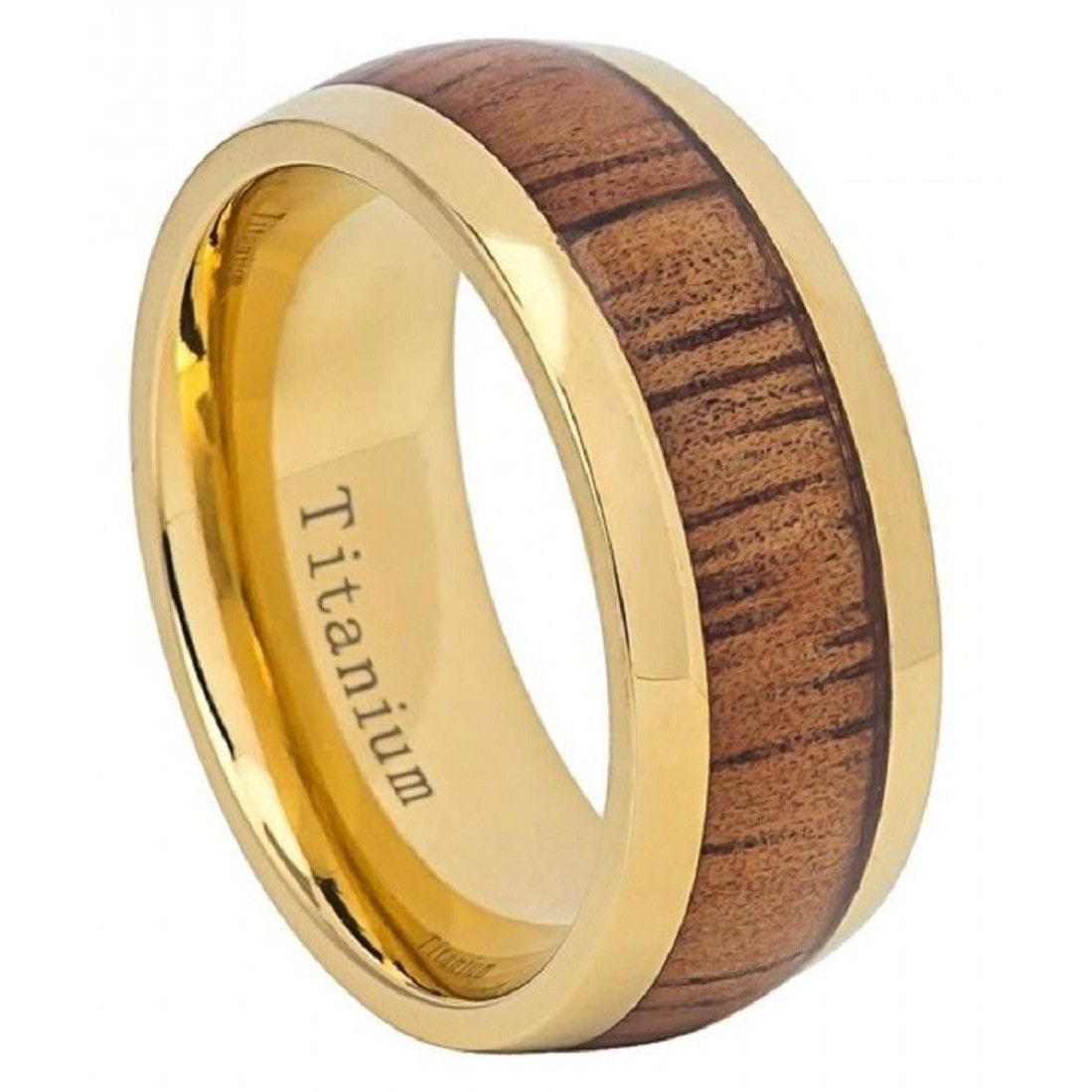 Mm men women wedding band yellow ip domed titanium ring hawaiian