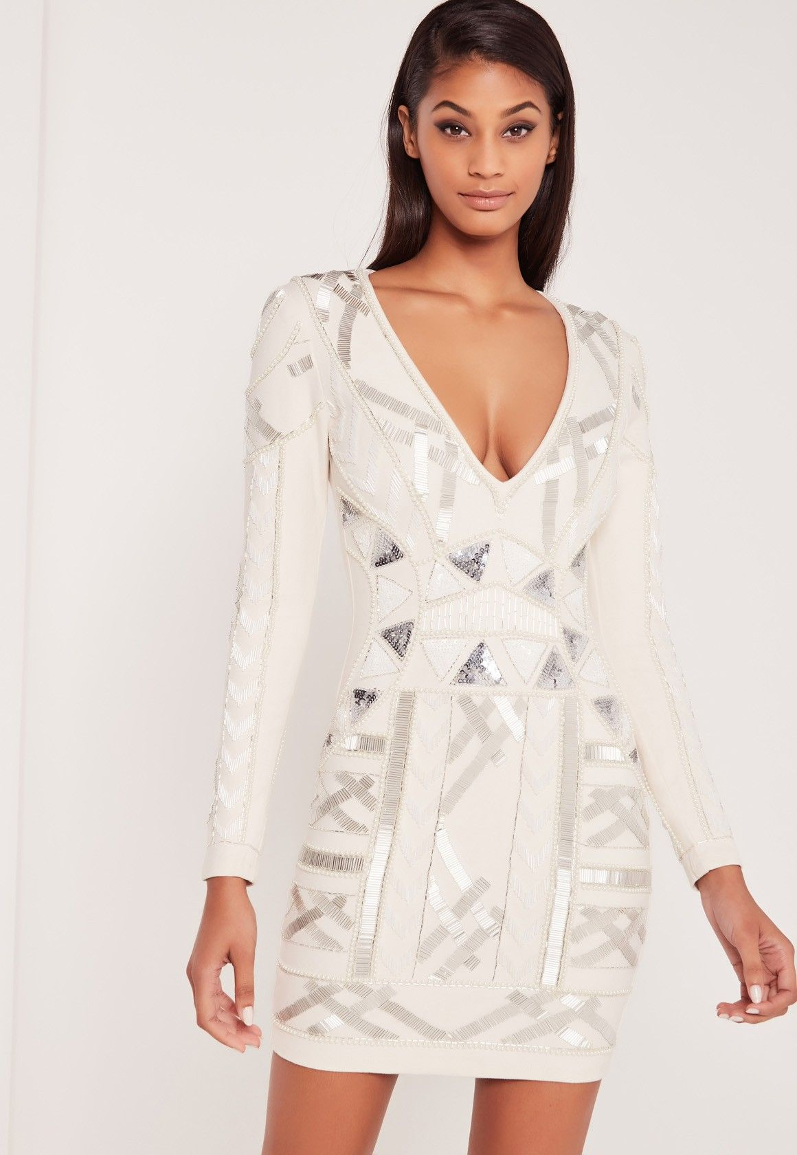 d8639d4d73a8 Missguided - Carli Bybel Embellished Plunge Bodycon Dress White ...