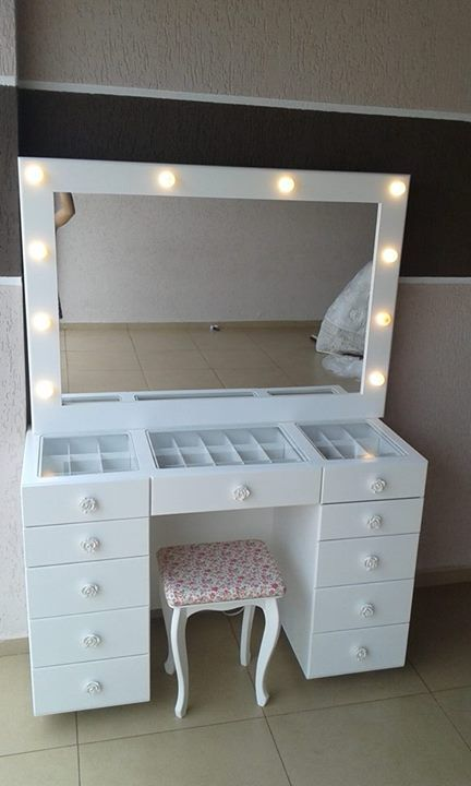 Wonderful Makeup Dresser Part - 7: DIY Vanity Mirror With Lights For Bathroom And Makeup Station