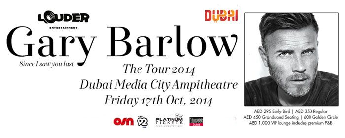 WIN! 2 pairs of tickets for Gary Barlow live in Dubai up for grabs!