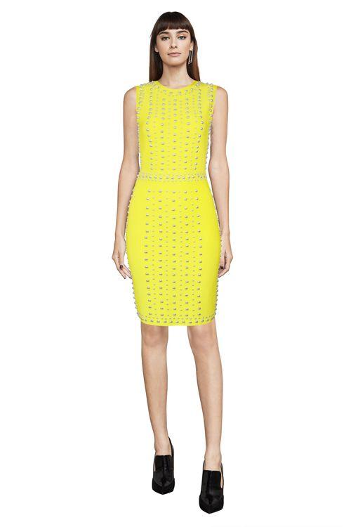 Herve Leger Yellow Mini Short Bandage Dresses Cheap