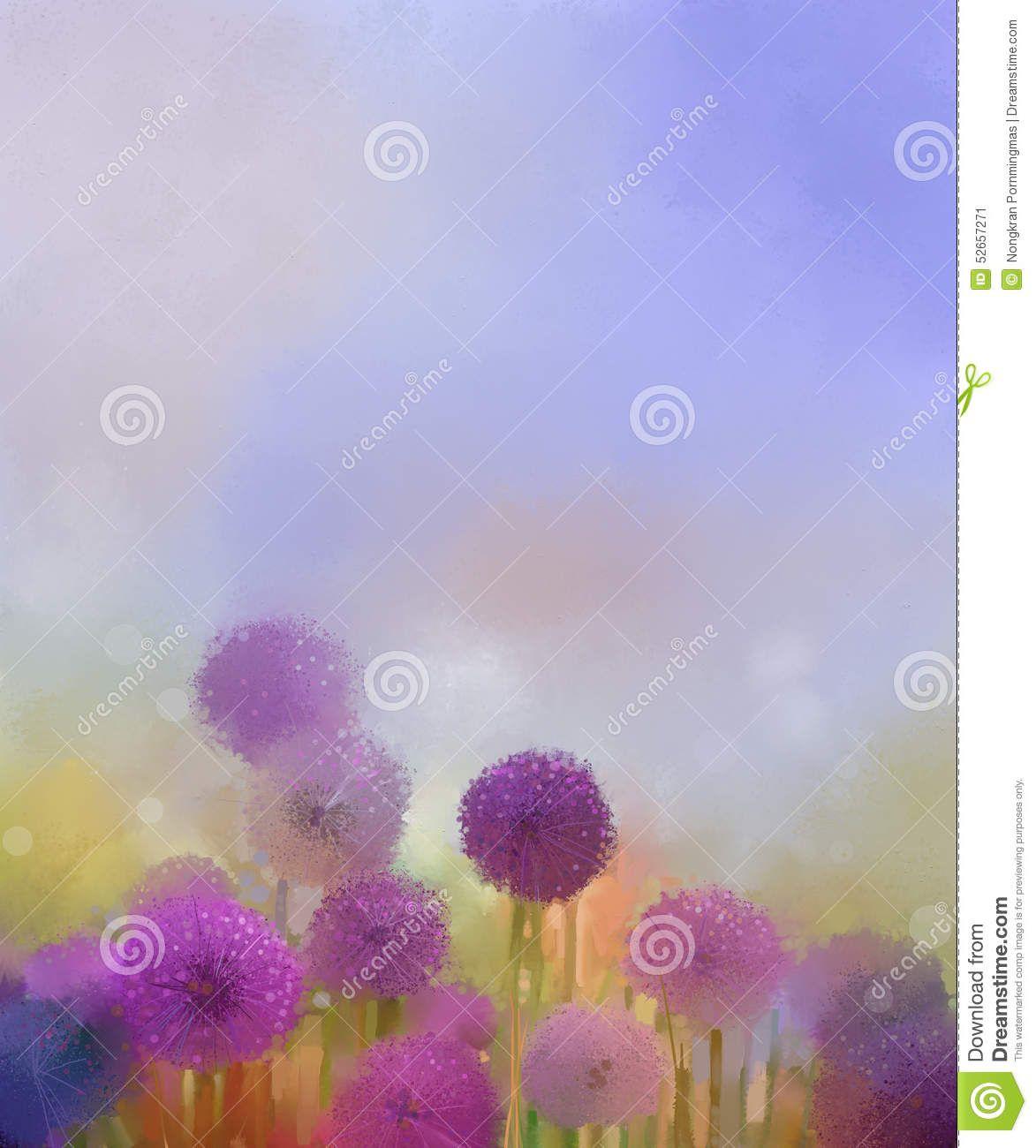 Peinture à Lu0027huile, Fleur Mauve Clair Du0027oignon De Couleurs En Pastel Dans  Les Prés Illustration Stock   Illustration Du Blur, Bleu: 52657271