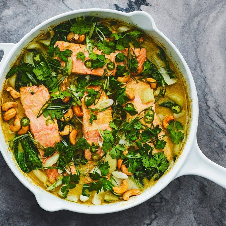 Salmon and Bok Choy Green Coconut Curry images