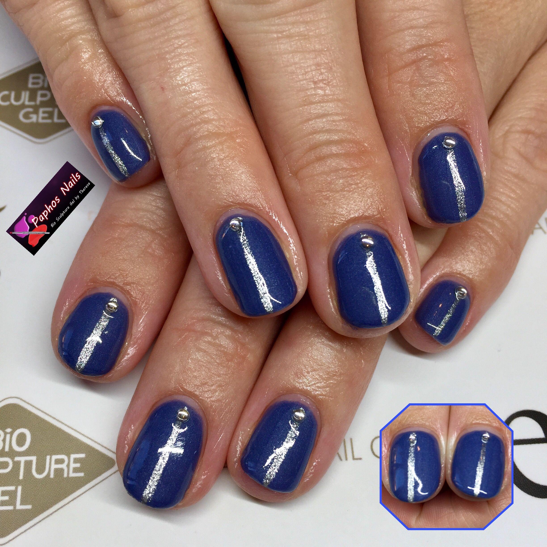 denim #blue #silverline #gems #biosculpturegel #nails #paphosnails ...