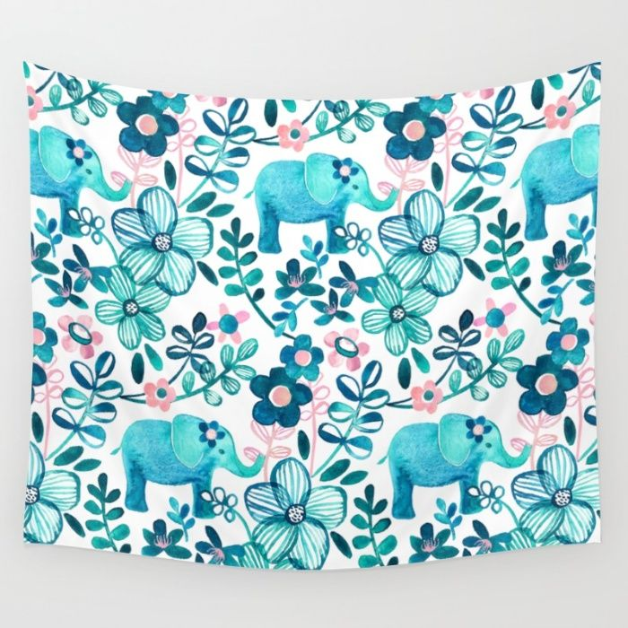 Dusty Pink, White and Teal Elephant and Floral Watercolor Pattern Wall Tapestry by Micklyn | Society6
