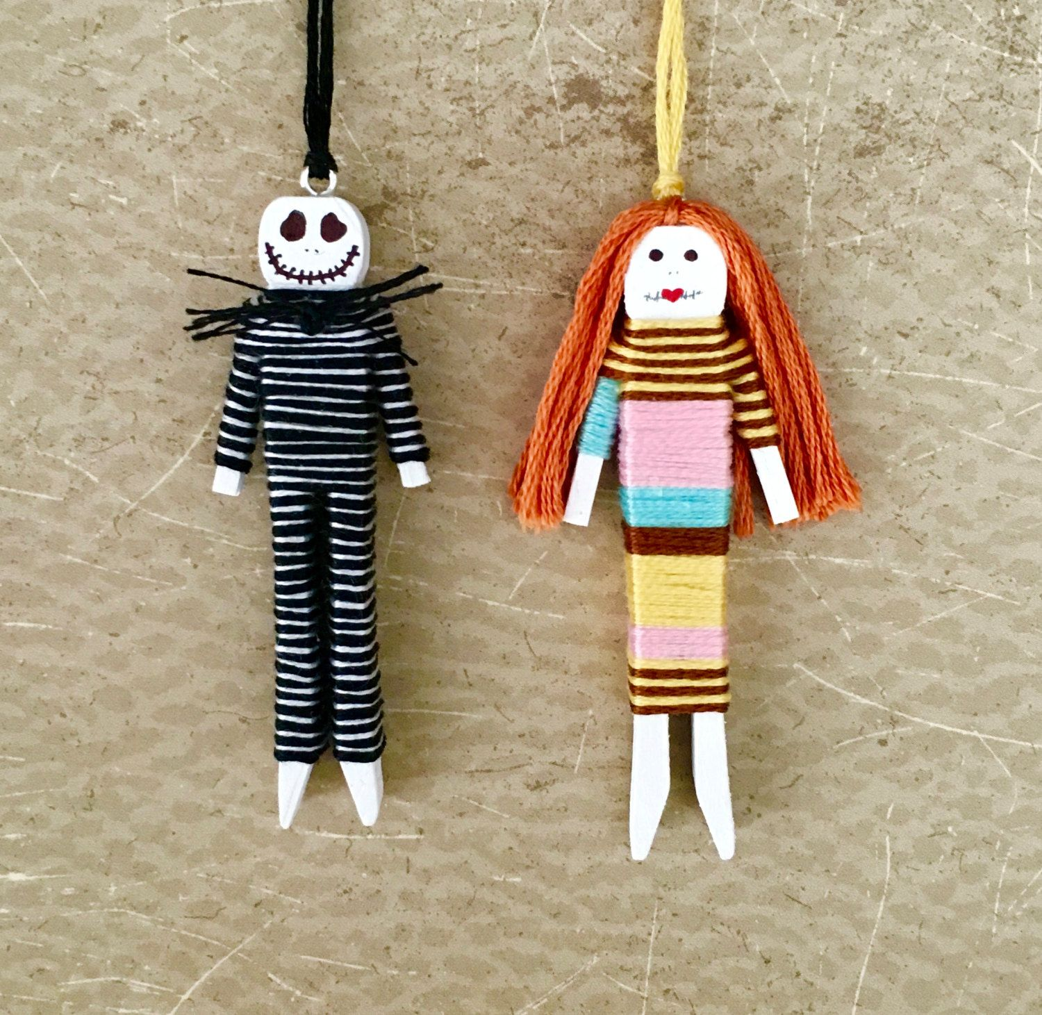 Nightmare Before Christmas - Jack and Sally - Worry Doll Ornament ...