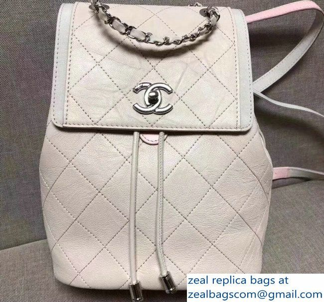 c596af8e3df2 Chanel Grained Crumpled Calfskin Backpack Bag A57083 Ivory 2018 ...