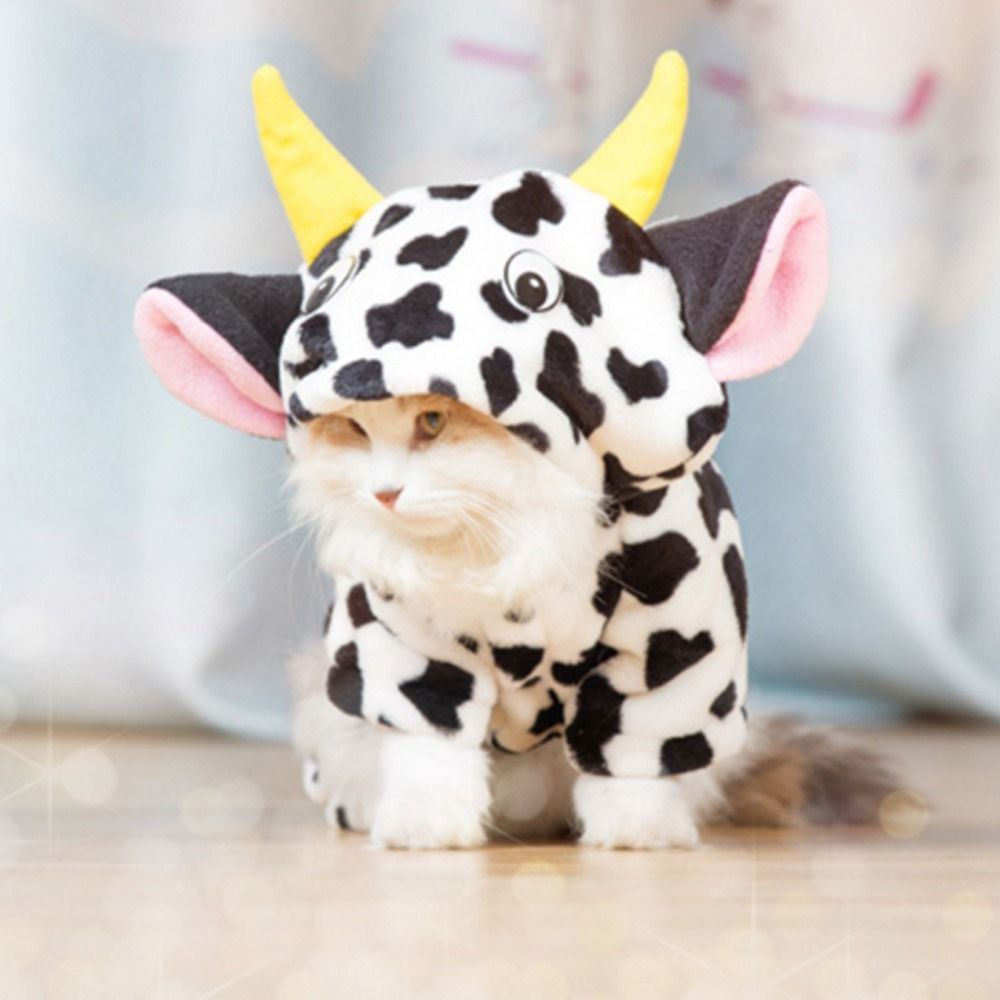 New 2016 Pet Dog cat Warm Coat Cow Costume Hoody Apparel Pullover