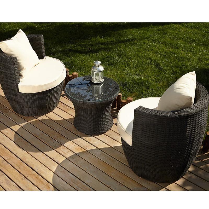 Salon de jardin OSAKA en acier et fibre de resine tressee - 2 ...