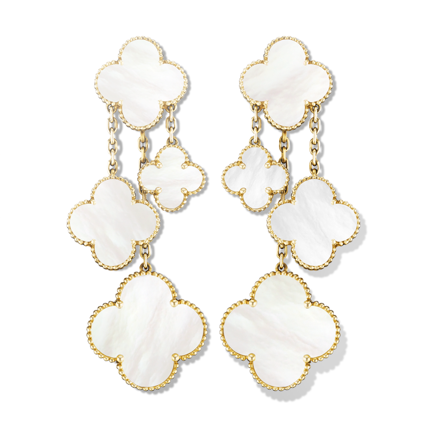 Magic Alhambra Earrings 4 Motifs Yellow Gold White Mother Of Pearl