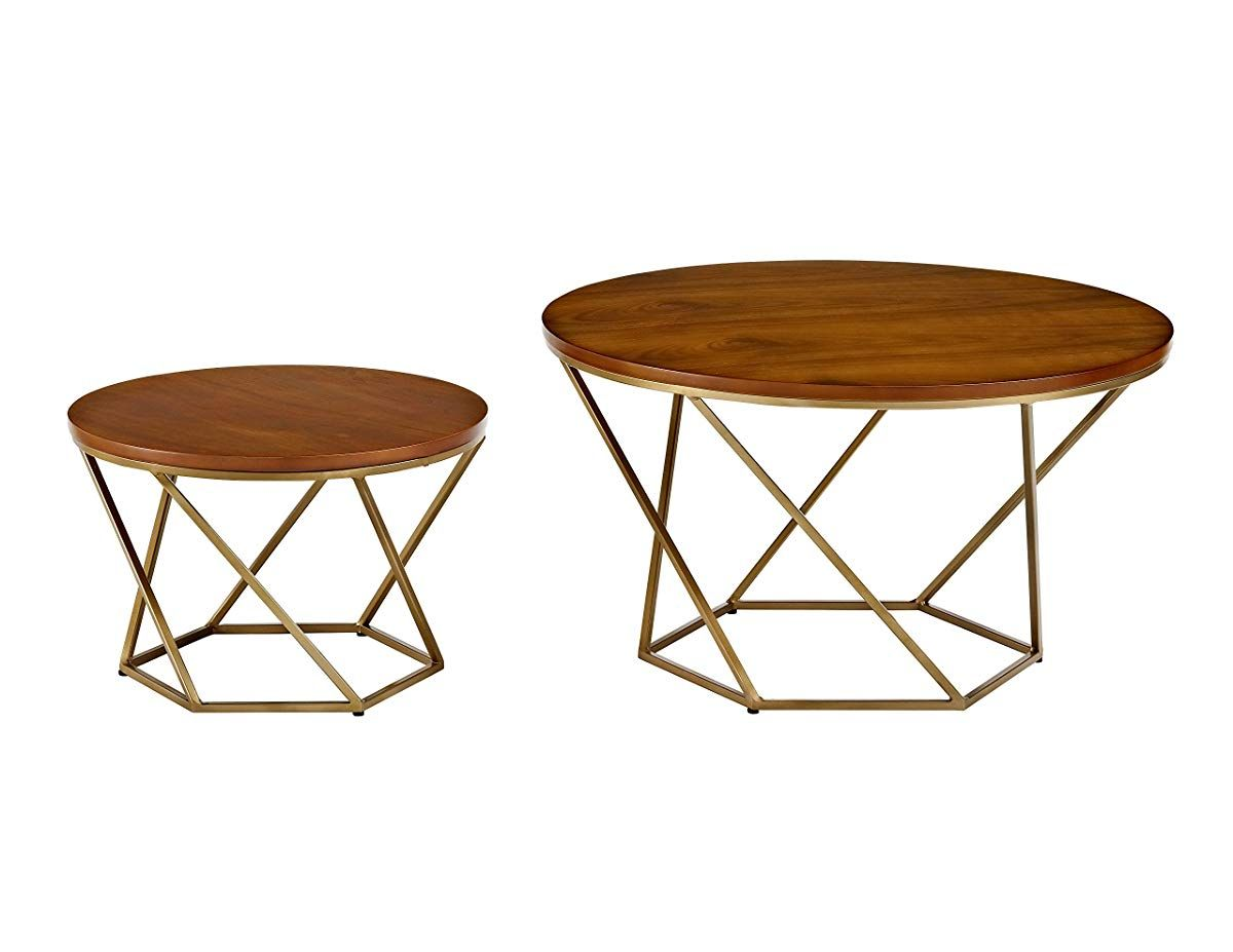 Wood nesting coffee tables walnut gold rooms to go furniture modern furniture