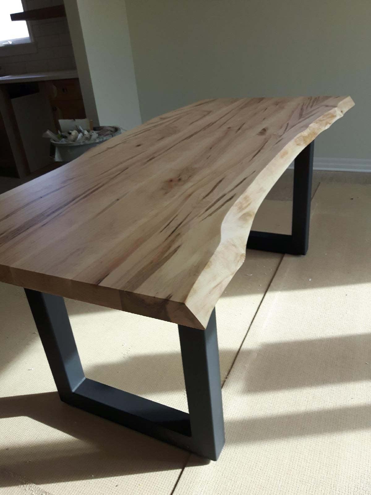 Live Edge Wormy Maple Table With Steel Square Legs Www Simplicitysedge Com Live Edge Table Legs Maple Dining Table Live Edge Dining Table