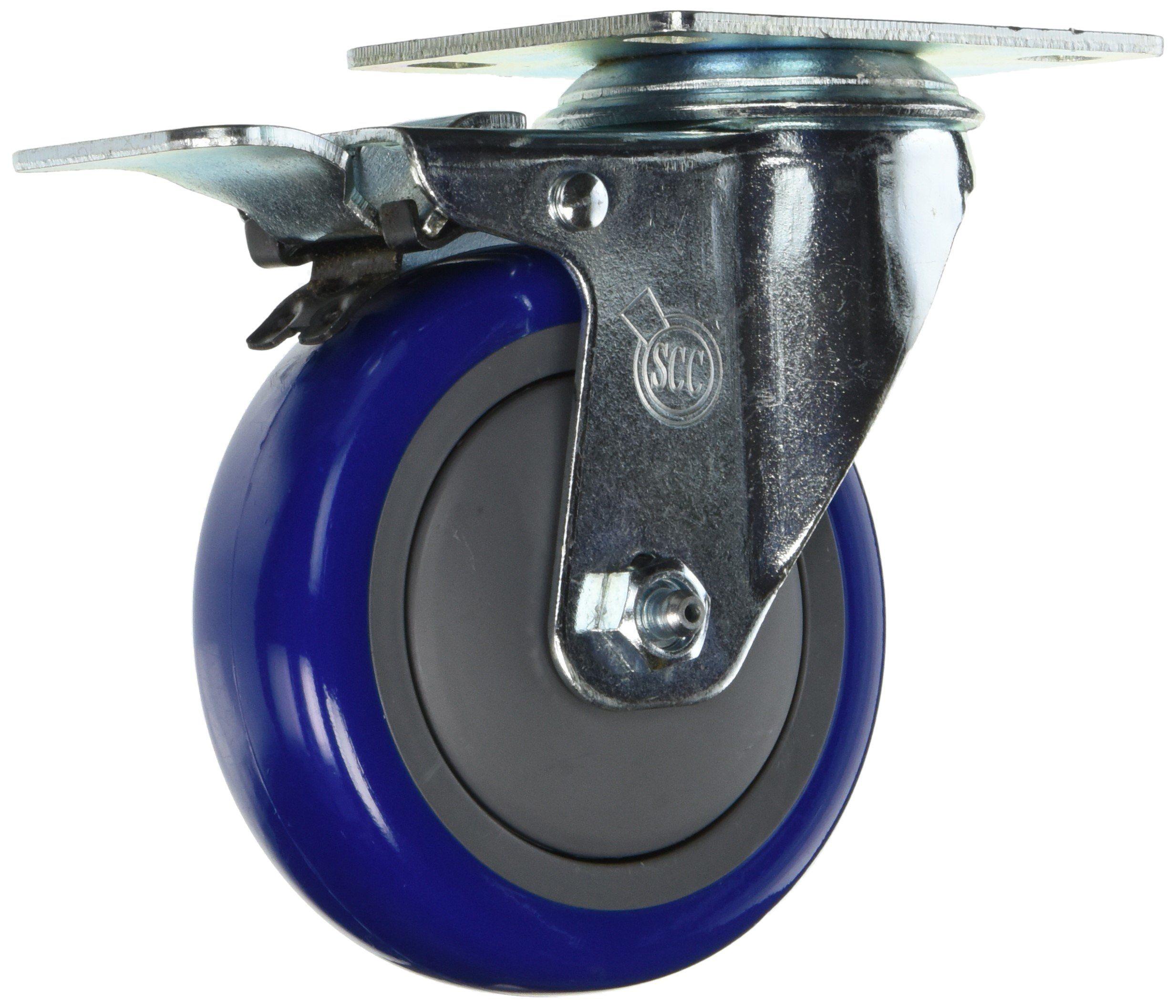 Service Caster SCC TTL20S414 PPUB BLUE 4 Swivel Caster Total Lock