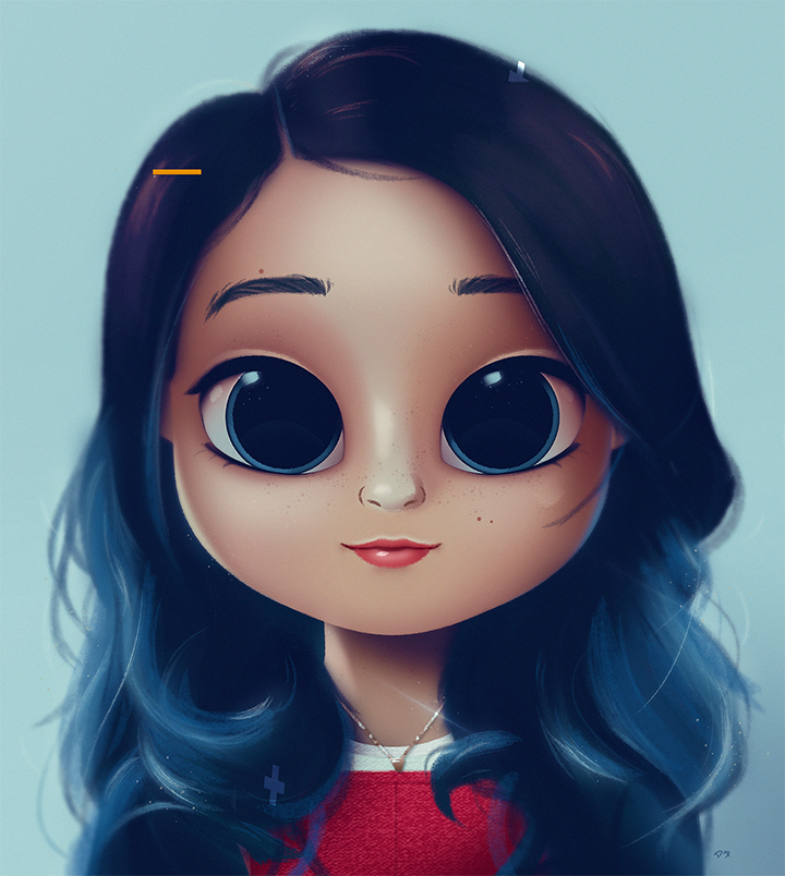 Cartoon Portrait Digital Art Digital Drawing Digital Painting Character Design Drawing Big Eyes Cu Cute Girl Drawing Girl Cartoon Illustration Art Girl