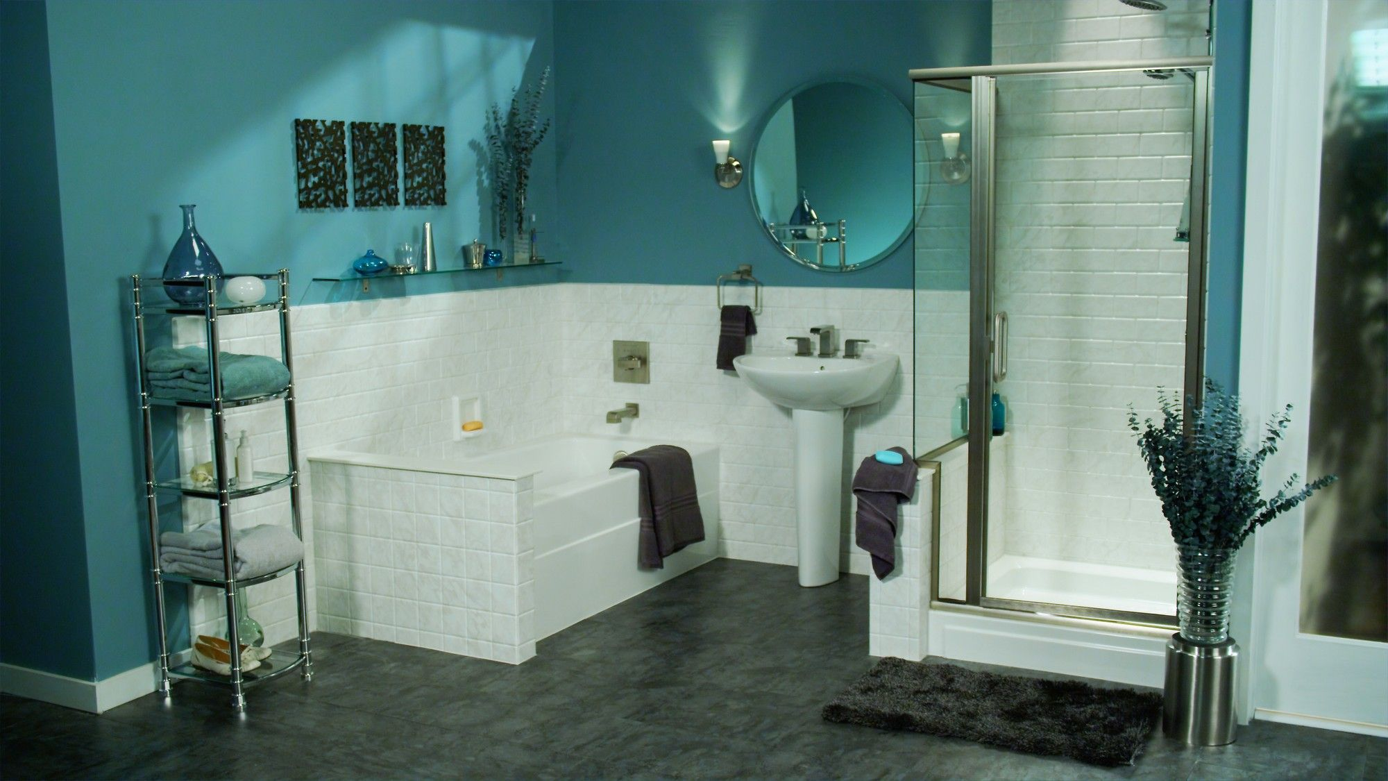 ReBath Vignette Image Featuring White Marble Wall Surround - Teal bathroom accessories for small bathroom ideas