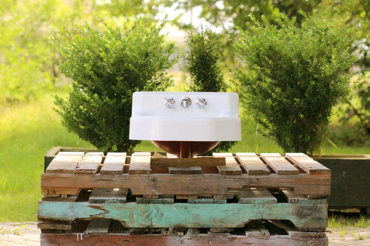 """1957 Refinished Vintage Kohler Bath Sink 19"""" Cast Iron Shelf Back ..."""