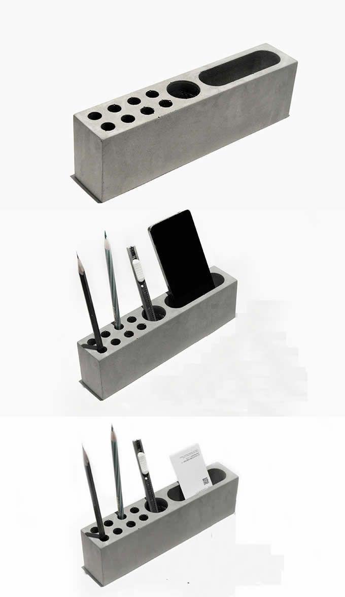 Pen Stand Designs : Pen stand holder concrete desktop stationery organizer