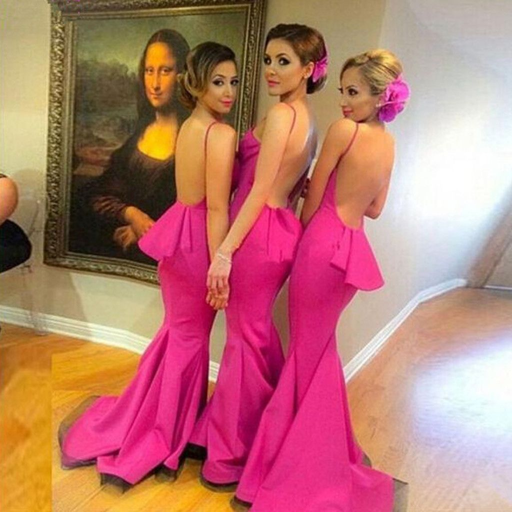 Beautiful Sexy Backless Mermaid Young Girls Rose Red Long Bridesmaid ...