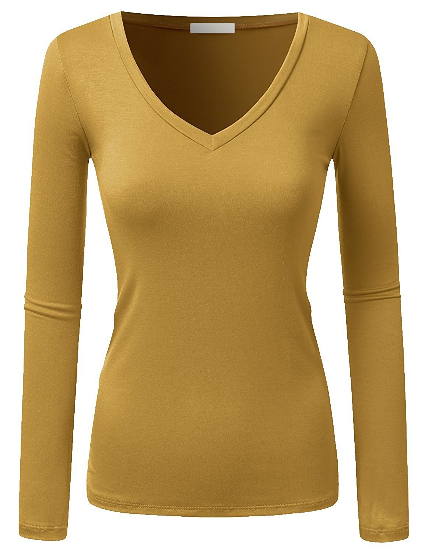e2a9d714a6e8 Women & Juniors Plus Basic Solid Plain V-Neck Long Sleeve T Shirt Top#Basic# Solid#Juniors