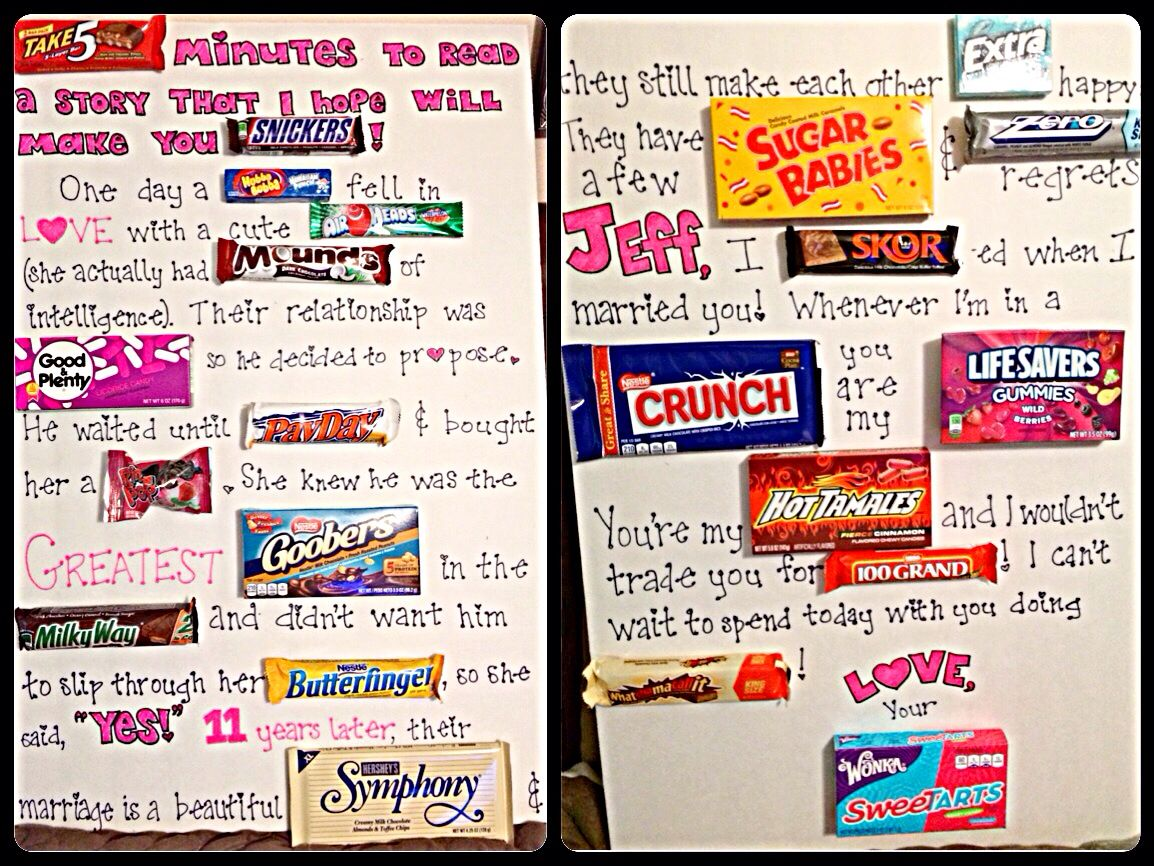 Candy Card Board I Made For My Husband On Our Anniversary I Love How It Turned Out I Combined Lots Of Candy Birthday Cards Candy Poems 20th Anniversary Gifts