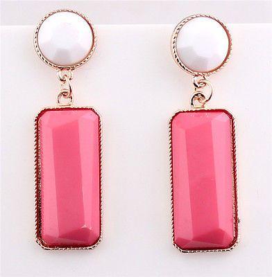 New Desgin Fashion Nice Drop White Pink Resin Rhinestone Women Earrings Dangles