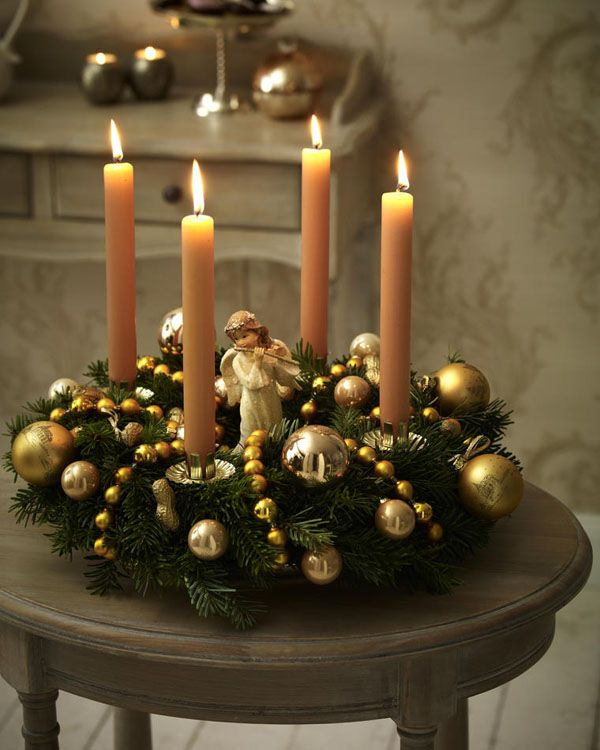 1-adventskranz.   Christmas candle centerpieces, Christmas ...