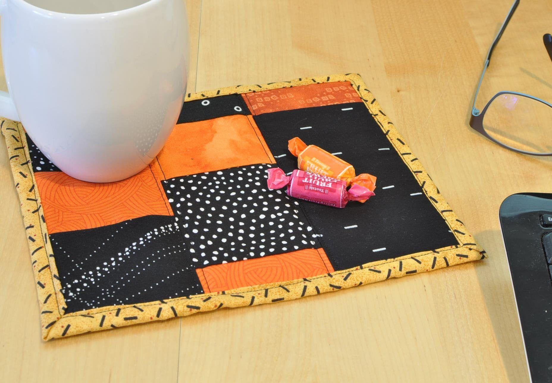Mug Rug Reusable Snack Mat Mini Quilt Home Decor Desk Accessory Large Fabric Coaster Candle Mat Orange Black 45 In 2020 Mug Rug Mini Quilt Handmade