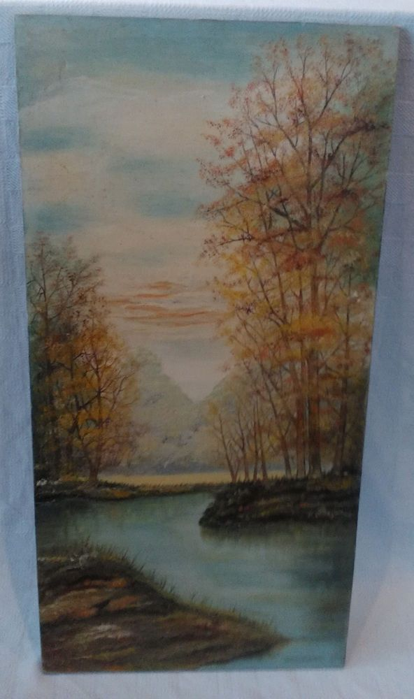 "Canvas Art Painting Signed Walter Demarko 1971 Mystic September Morning 30"" x15"" #LandscapeArt"