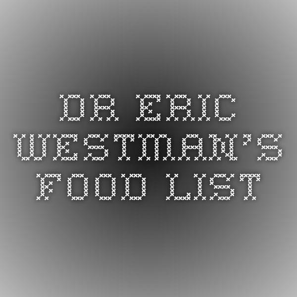 Dr Eric Westman Low Carb Food List