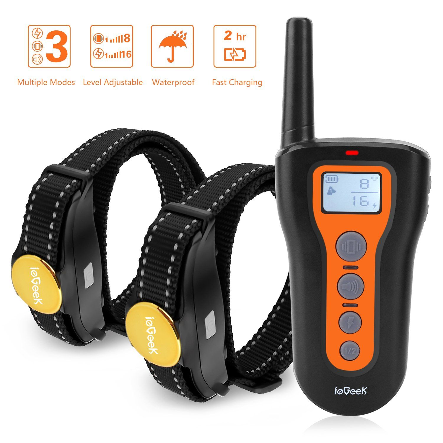 ieGeek Dog Training Collar 2 Dogs Shock Collars Remote Up