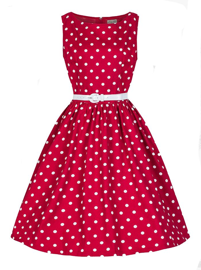Red Retro Scoop 50s 60s White Polka Dots Party Swing Cocktail Dress ... 0c89b085e3fa